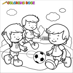 Illustration of a black and white outline image of three little boys playing football
