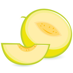 Illustration of a whole and a sliced melon