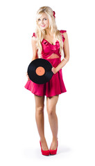 Blond woman with vinyl record