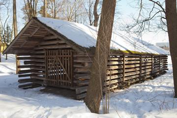 Old wooden barn in the open-air museum Seurasaari island, Helsinki, Finland..