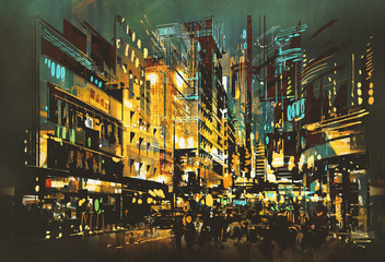 night scene cityscape,abstract art painting Fotomurales