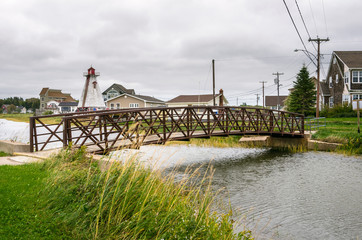 Small Footbridge in a Small Seaside Village in Canada on a Cloudy Day
