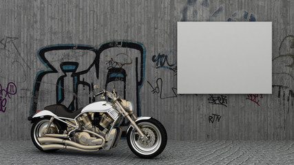 Empty picture frames in modern exteriour background on the concrete graffiti wall and the motorcycle on the arc pavement street floor. Copy space image.