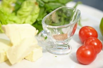 ingredients for a salad with fish and vegetables