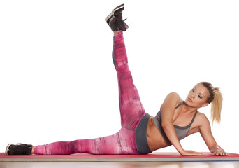 young athletic woman doing exercises