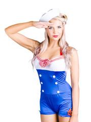 American pinup girl sailor saluting a yes sir