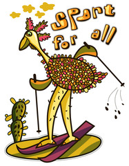 Humorous picture ostrich skiing in the desert. Sport for all.