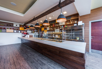 Lunch counter at modern public catering restaurant