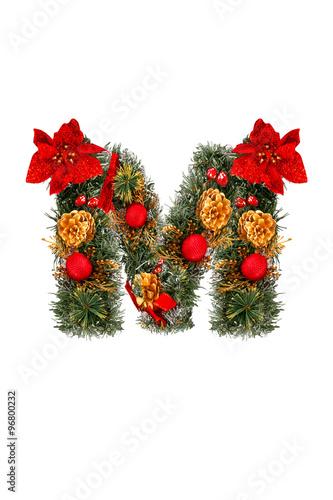 Christmas Alphabet.Christmas Alphabet Letter M Isolated On White Stock Photo