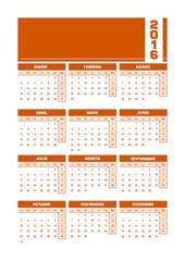 Calendario 2016 español castellano vertical