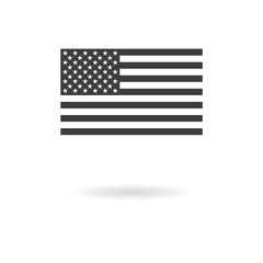 Dark grey icon for greyscale USA flag (official proportions) on