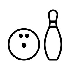 Bowling ball and pin line art icon for apps and websites