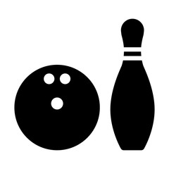 Bowling ball and pin flat icon for apps and websites