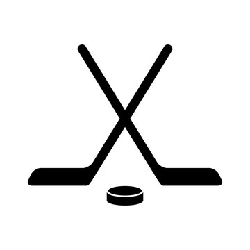 Hockey stick with puck flat icon for apps and websites