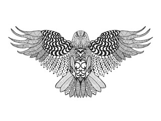 Zentangle stylized eagle.