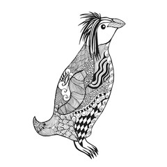 Zentangle stylized penguin.