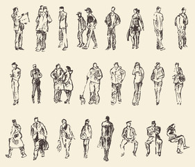 Sketch of people vector Illustration hand drawing
