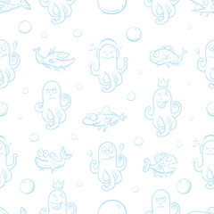 Vector seamless sea pattern with cartoon fishes and octopuses on  white  background.