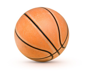 Isolated old basketball on white background
