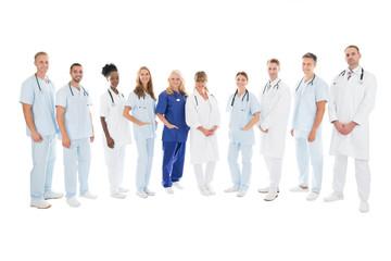 Confident Multiethnic Medical Team Standing In Row
