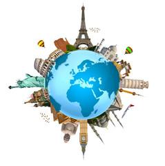 Fototapete - Illustration of famous monument of the world