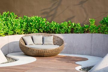 Relaxing Rattan Sofa In The Garden