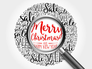 Merry Christmas and Happy new year sale word cloud with magnifying glass, business concept