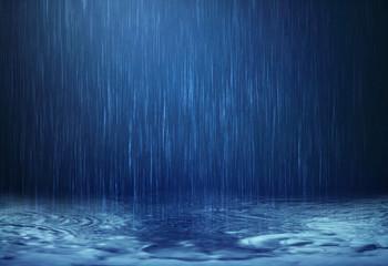 rain water drop falling to the floor in rainy season Wall mural