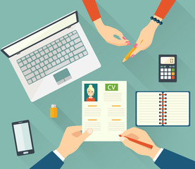 Job interview concept with business cv resume. Vector flat illustration