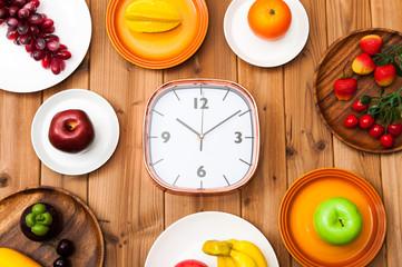 フルーツと時計
