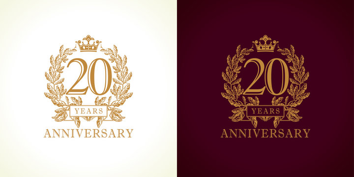 20 anniversary luxury logo. Template logo 20th royal anniversary with a frame in the form of laurel branches and the number 20.