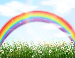 Garden flower with rainbow background