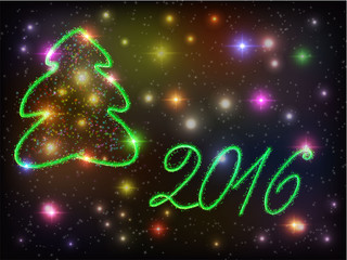 Christmas card with green Christmas tree on a dark glowing  background with colorful lights. Happy New Year 2016. Vector illustration.