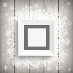 Picture Frame Wood Snowflakes