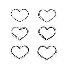 Hand-drawn vector black heart shapes set