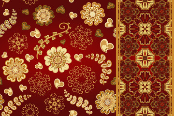 Set of seamless pattern with flowers with snowflakes and border, fantasy floral endless pattern. Vector illustration