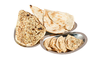 indian bread on metal plates