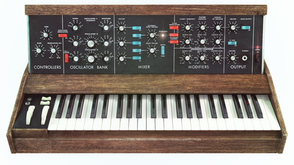 Analog classic synthesizer front view