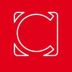 Vector initial letter C. Sign made with red line