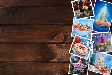 wooden background with christmas images collection