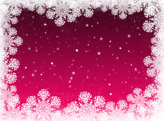 Winter red background. Snow background