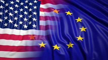 American and EU flags