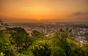 Wall Mural - Sunrise above Kathmandu, Nepal, viewed from the Swayambhunath temple
