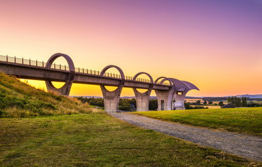 Falkirk Wheel at sunset, Scotland, United Kingdom