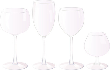 Vector set of empty glasses.