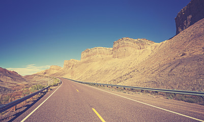 Vintage toned country highway, Utah State, USA