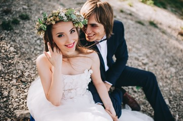 portrait of young wedding couple