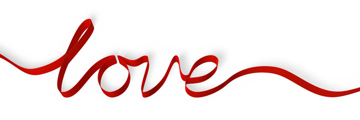 Red ribbon forming the word 'love', isolated on white