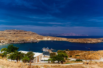 Greece, island Rhodes. Top view to the sea and the city Lindos.