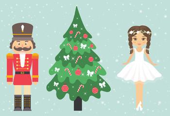 girl ballerina and nutcracker and fir-tree